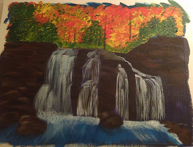 An Acrylic Painting in Progress: The Secret Grotto