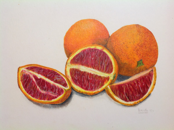 Blood oranges with markers and colored pencil.